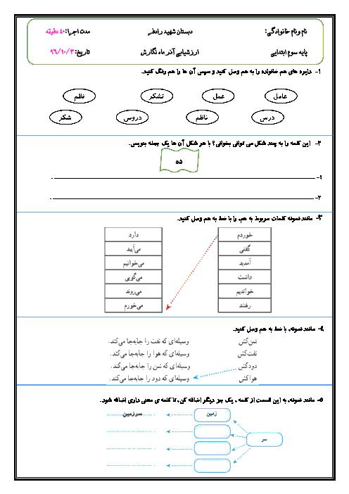 ارزشیابی نگارش فارسی پایه سوم دبستان شهید عوده رادفر | درس 1 تا 7