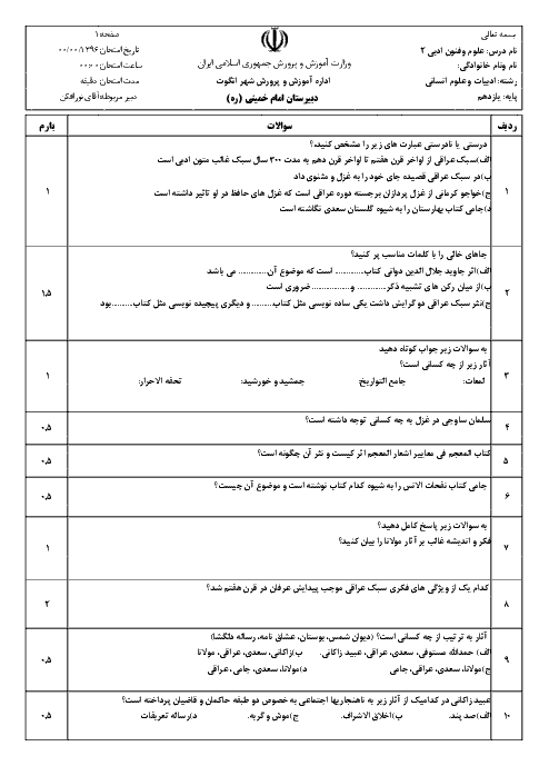 سؤالات امتحان نوبت اول علوم و فنون ادبی (2) پایه یازدهم  دبیرستان امام خمینی | دیماه 96