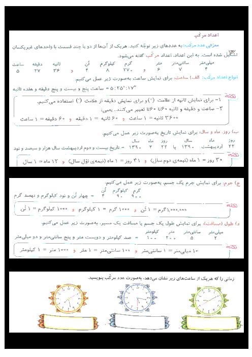 جزوه کار ریاضی  پنجم دبستان  | فصل 1: اعداد مرکب و الگوها