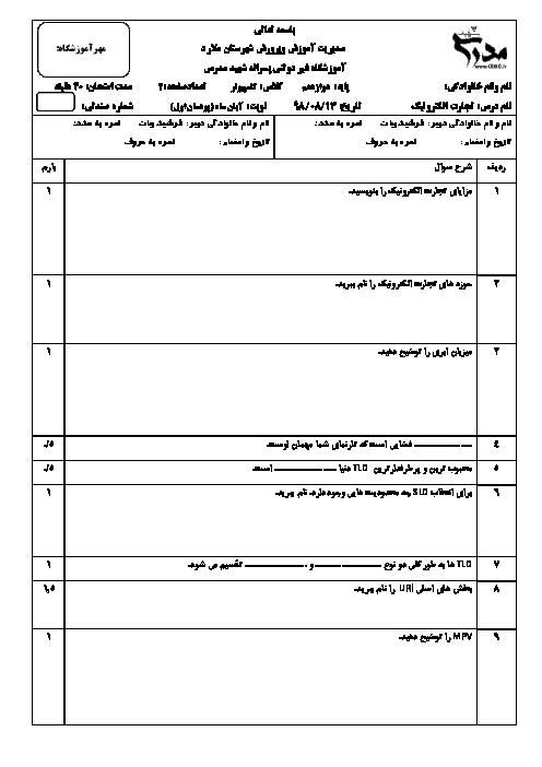آزمون تجارت الکترونیک و امنیت شبکه دوازدهم هنرستان شهید مدرس | پودمان 1: ایجاد کار و کسب الکترونیکی