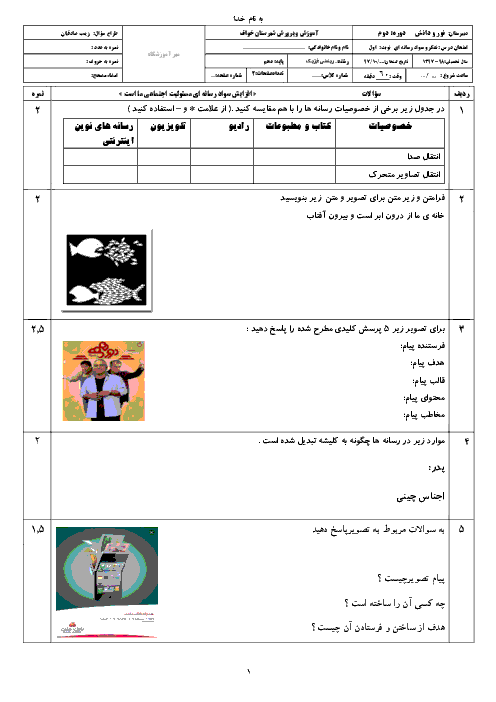 آزمون نوبت اول تفکر و سواد رسانهای دهم دبیرستان نور دانش خواف | دی 1397