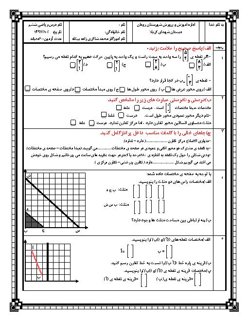 آزمون فصل 4 ریاضی ششم دبستان شهدای کربلا | تقارن و مختصات
