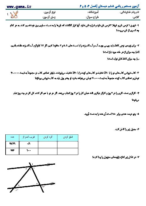 آزمون مستمر ریاضی ششم | فصل 5 تا7