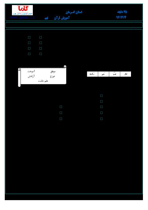 سؤالات و پاسخنامه امتحان هماهنگ استانی نوبت دوم خرداد ماه 96 درس آموزش قرآن پایه نهم | استان کرمان