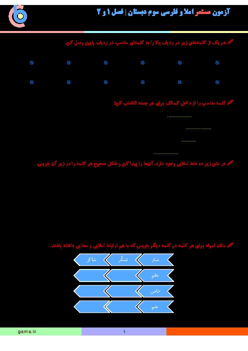 آزمون مستمر املا و فارسی کلاس سوم دبستان | آبان ماه: فصل 1 و 2