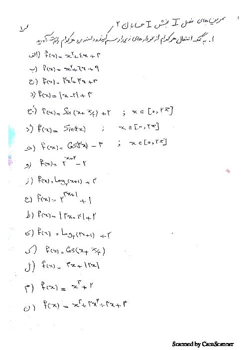 تمرین های درس 1 از فصل اول حسابان یازدهم | تبدیل نمودار توابع