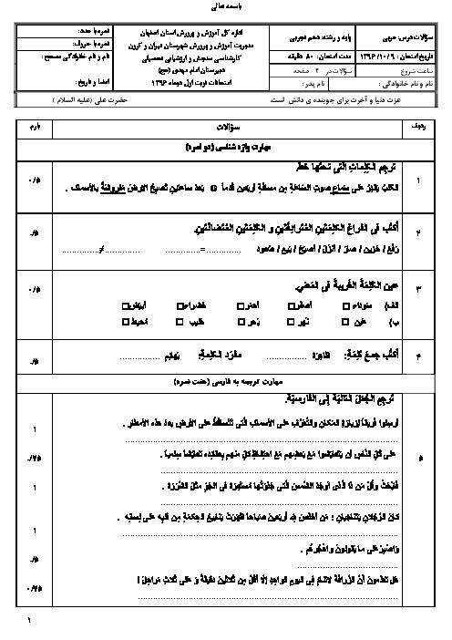 امتحان نوبت اول عربی، زبان قرآن (1) دهم رشته رياضی و تجربی دبیرستان امام مهدی | دی 96