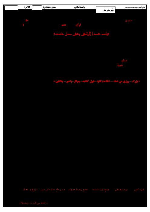 آزمون نوبت دوم آموزش قرآن هشتم آموزشگاه مولوی ناحیه 2 زنجان | خرداد 96
