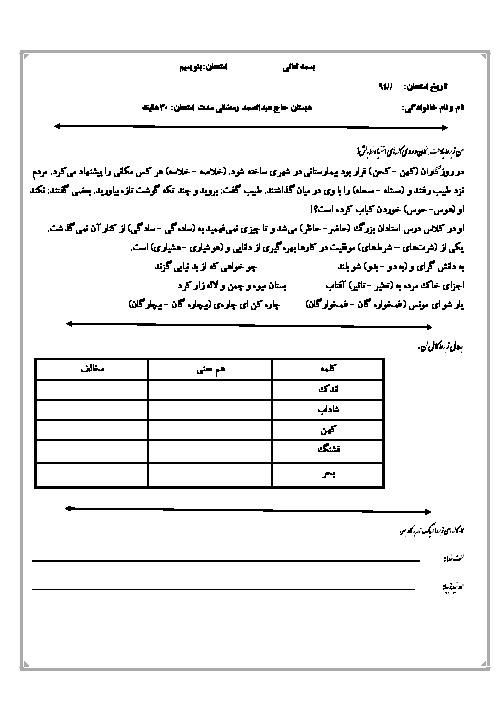 ارزشیابی فارسی نوشتاری پنجم دبستان حاج عبدالصمد رمضانی | مهر ماه