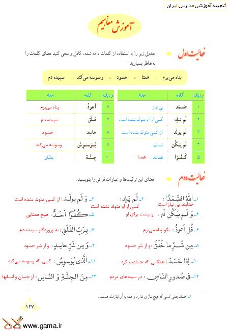 گام به گام آموزش قرآن نهم   پاسخ فعالیت ها و انس با قرآن درس 12: جلسه دوم (سوره توحید، فلق و ناس)