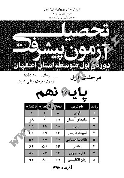 سوالات و پاسخ کلیدی آزمون پیشرفت تحصیلی پایه نهم استان اصفهان | مرحله اول آذر 96