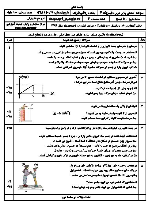 سؤالات امتحان نهایی درس فیزیک (3) دوازدهم رشته ریاضی | نوبت دی 98