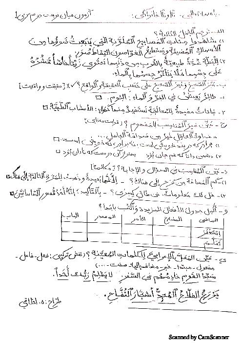 آزمون میان نوبت دوم عربی (1) دهم دبیرستان دکتر معین رشت | اردیبهشت 1398
