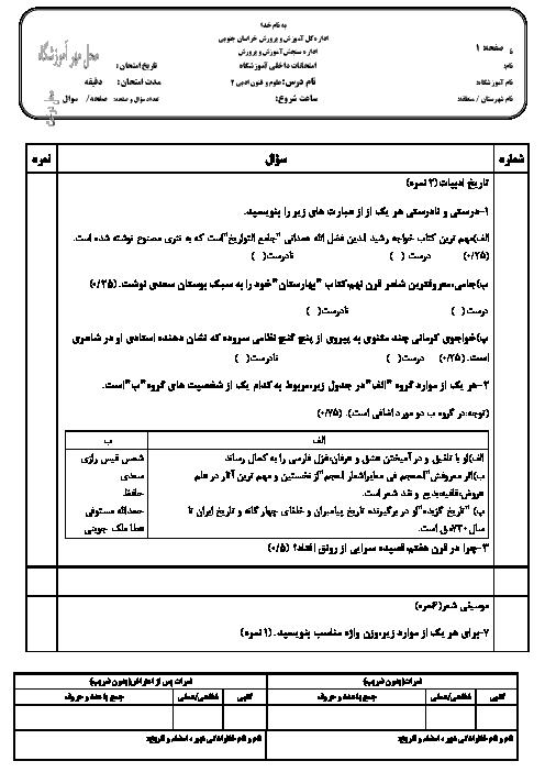 امتحان نوبت اول علوم و فنون ادبی (2) یازدهم رشته ادبیات و علوم انسانی علامه طباطبایی اسفدن قائنات - دیماه 96