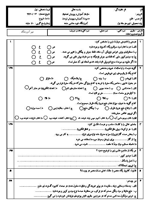 آزمون نوبت اول علوم نهم آموزشگاه شهید هاشمی دامنه فریدن | دی 94