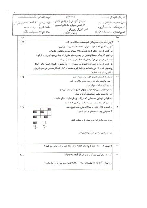سؤالات امتحان نوبت اول شیمی (1) دهم دبیرستان احسان | دی 1396