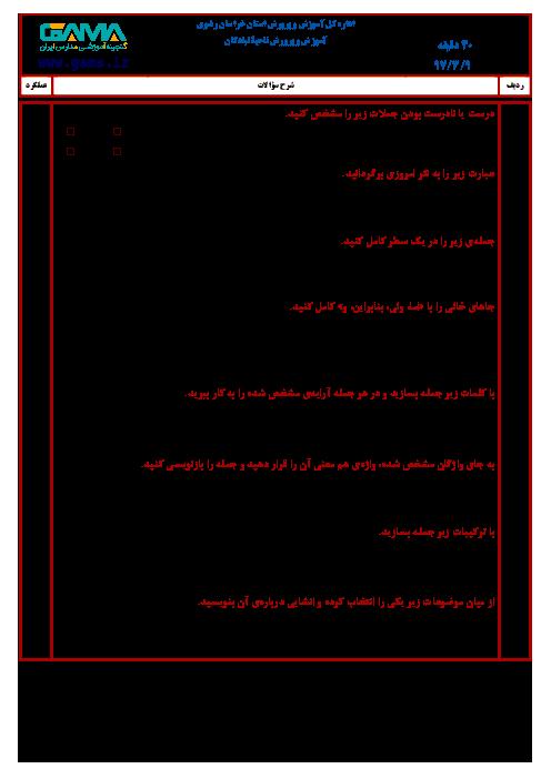 سؤالات امتحان هماهنگ نوبت دوم انشا و نگارش پایه ششم ابتدائی مدارس ناحیه تبادکان | خرداد 1397