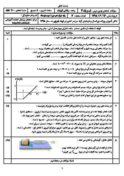 سؤالات امتحان نهایی درس فیزیک (3) دوازدهم رشته ریاضی | شهریور 1398