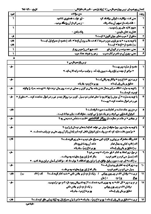 آزمونک درس های 14 و 15 فارسی یازدهم دبیرستان امام خمینی