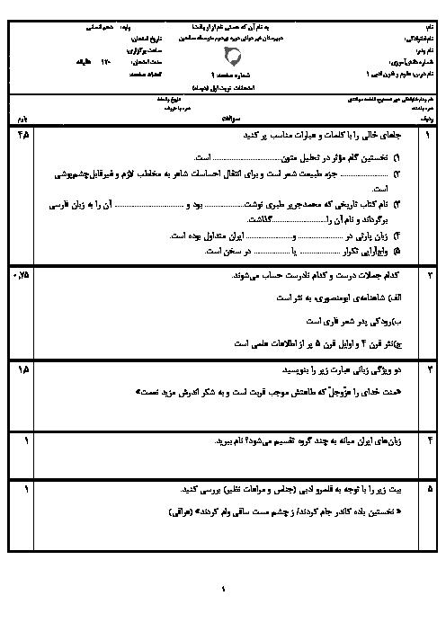 امتحان نیمسال اول علوم و فنون ادبی (1) دهم دبیرستان غیردولتی صالحین | دی 1398