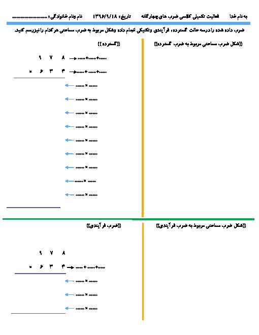 فعالیت تکمیلی ریاضی چهارم دبستان با جواب (ضرب گسترده، ضرب فرآیندی، ضرب تکنیکی،ضرب مساحتی)