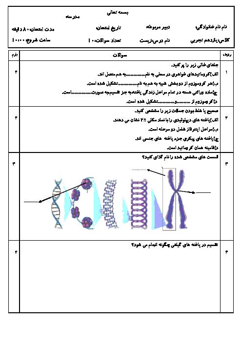 امتحان زیست شناسی (2) یازدهم رشته تجربی دبیرستان آذربایجان | فصل ششم: تقسیم یاخته
