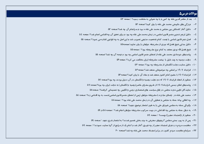 سؤالات متن درس تاریخ معاصر ایران | درس 5 و 6