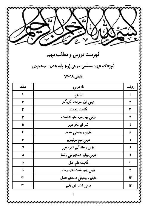جزوه آموزش فارسی ششم ابتدایی + معنی متن ها و اشعار | از ستایش تا نیایش