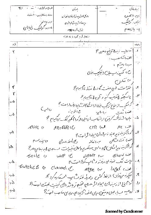 آزمون جبرانی تابستان گرافیک رایانهای یازدهم هنرستان فنی و حرفهای دانشمند | شهریور 1399