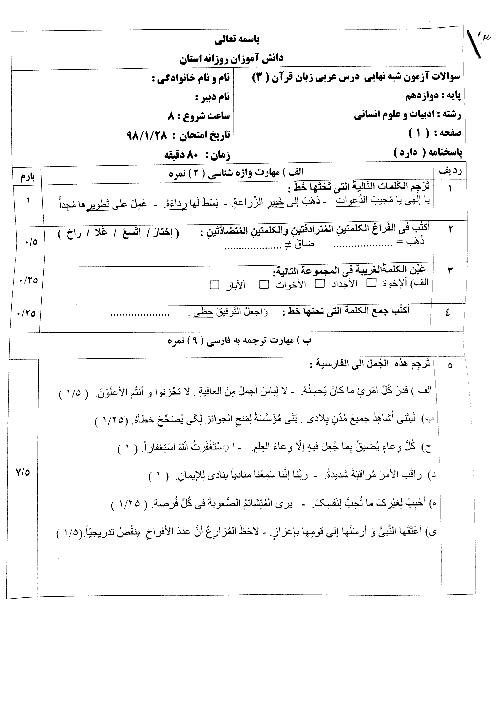 سوالات آزمون شبه نهایی درس عربی زبان قرآن دوازدهم انسانی | فروردین 1398