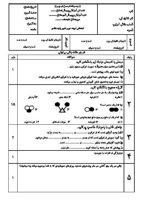 آزمون نوبت دوم علوم تجربی هفتم مدرسه حضرت امیر تهران | خرداد 1396