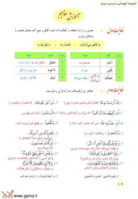 گام به گام آموزش قرآن نهم | پاسخ فعالیت ها و انس با قرآن درس 10: جلسه اول (سوره نوح)