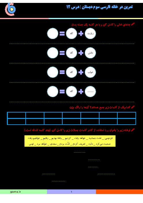 تمرین در خانه فارسی سوم دبستان | درس 12: ایران عزیز