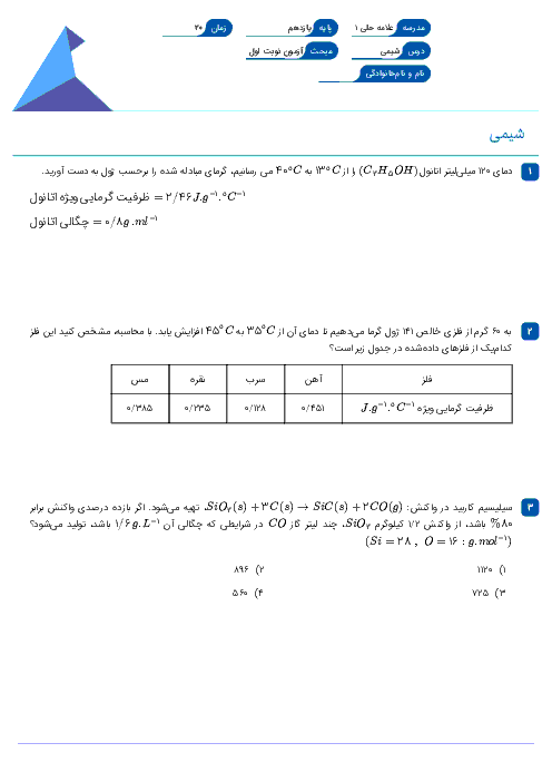 سوالات امتحان نوبت اول شیمی (2) یازدهم دبیرستان علامه حلی   دیماه 1396 + پاسخ