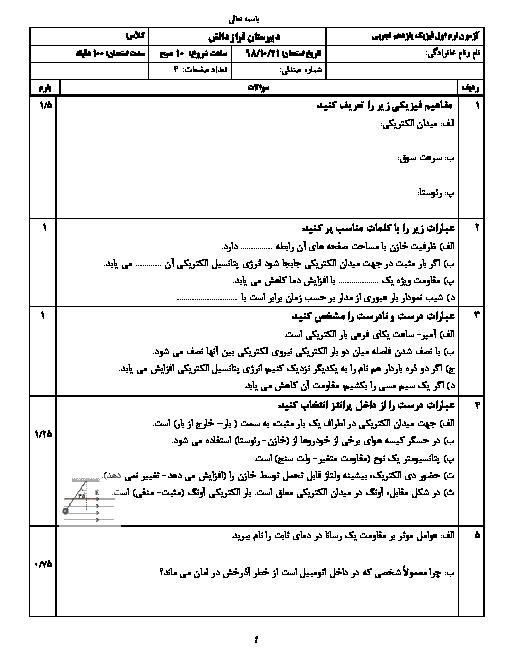 امتحان ترم اول فیزیک (2) یازدهم دبیرستان فراز دانش تهران | دی 1398