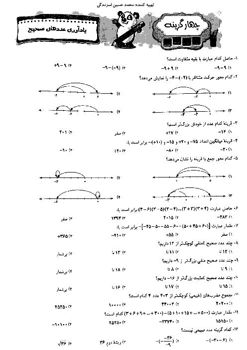 145 تست فصل اول ریاضی پایه هشتم + پاسخ تشریحی
