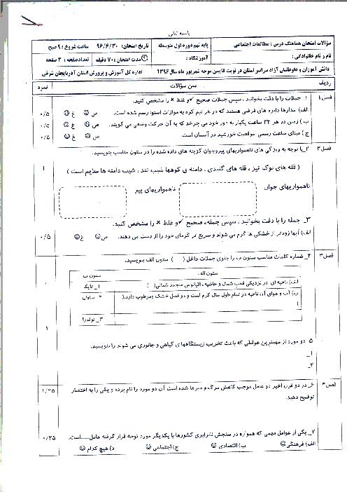 سوالات امتحانات هماهنگ نوبت شهریور ماه پایه نهم استان آذربایجان شرقی | شهریور 1396