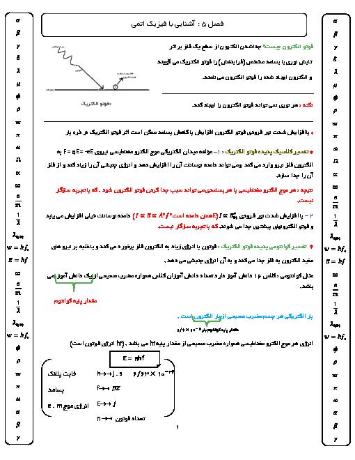 جزوه فصل 5 فیزیک دوازدهم رشته ریاضی | آشنایی با فیزیک اتمی