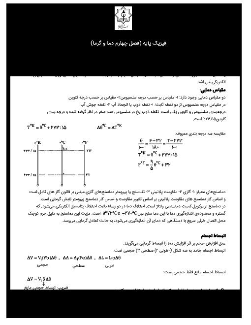 جزوه جمع بندی فیزیک (1) دهم به همراه تست های منتخب | فصل 4: دما و گرما