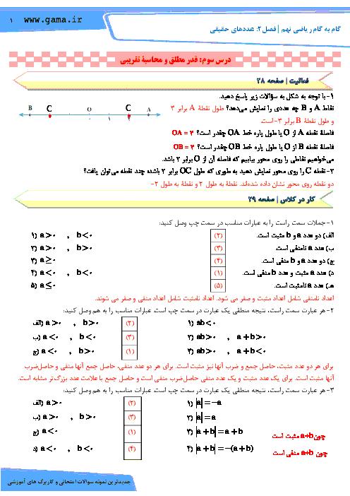 راهنمای گام به گام ریاضی نهم فصل 2: عددهای حقیقی (درس سوم: قدرمطلق و محاسبۀ تقریبی)