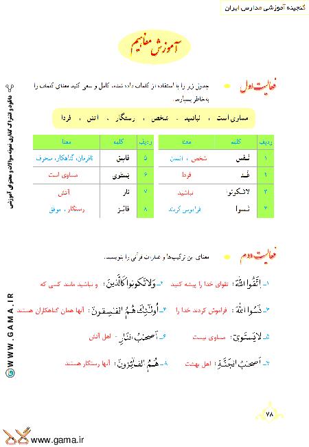 گام به گام آموزش قرآن نهم | پاسخ فعالیت ها و انس با قرآن درس 7: جلسه دوم (سوره حشر)