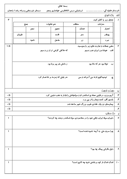 آزمون مداد کاغذی فارسی خوانداری پنجم دبستان رشد زاهدان | درس 1 تا 8