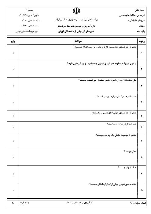 آزمونک مطالعات اجتماعی کلاس نهم دبیرستان غیردولتی فرهنگ دانش آوران بردسکن - درس 1