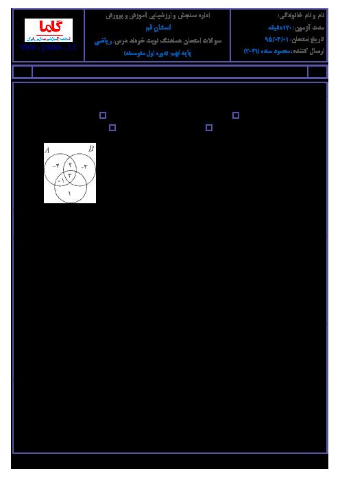 سوالات امتحان هماهنگ استانی نوبت دوم خرداد ماه 95 درس رياضي پایه نهم با پاسخنامه | استان قم