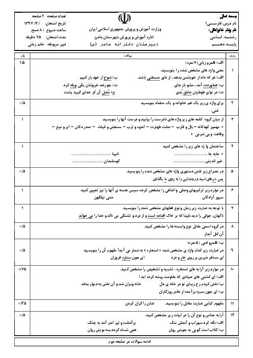 سوالات امتحان نوبت دوم فارسی (1) پایه دهم دبیرستان دخترانه هاجر باخرز | خرداد 1397