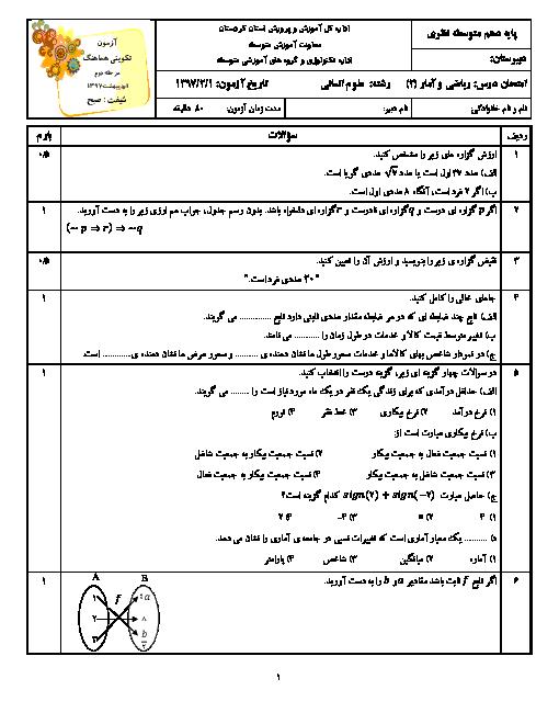 آزمون تکوینی هماهنگ ریاضی و آمار (2) یازدهم استان کردستان شیفت صبح | اردیبهشت 1397 + پاسخ