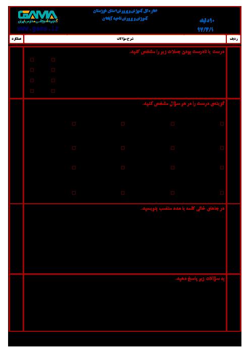 سؤالات امتحان هماهنگ نوبت دوم ریاضی پایه ششم ابتدائی مدارس ناحیۀ آبادان | خرداد 1397