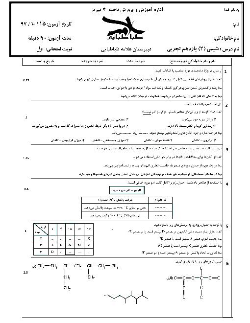 امتحان نوبت اول شیمی (2) یازدهم دبیرستان علامه طباطبایی | دیماه 97