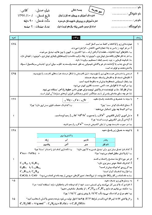 سوالات امتحان ترم اول شیمی (2) یازدهم دبیرستان دکتر شهریاری | دی 97