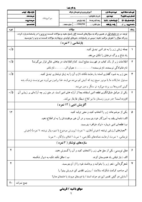 نمونه سوال امتحان نوبت دوم نگارش (3) دوازدهم دبیرستان صدیقه کبری | خرداد 1398